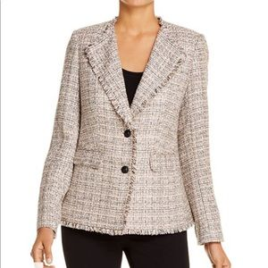KARL LAGERFELD Paris Fringed Tweed Blazer